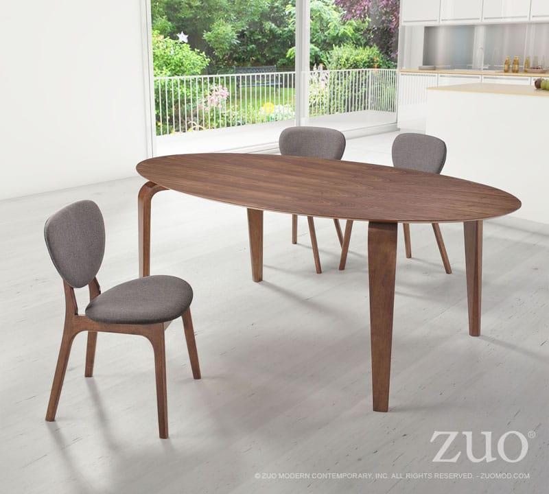 Virginia key dining table walnut by zuo modern