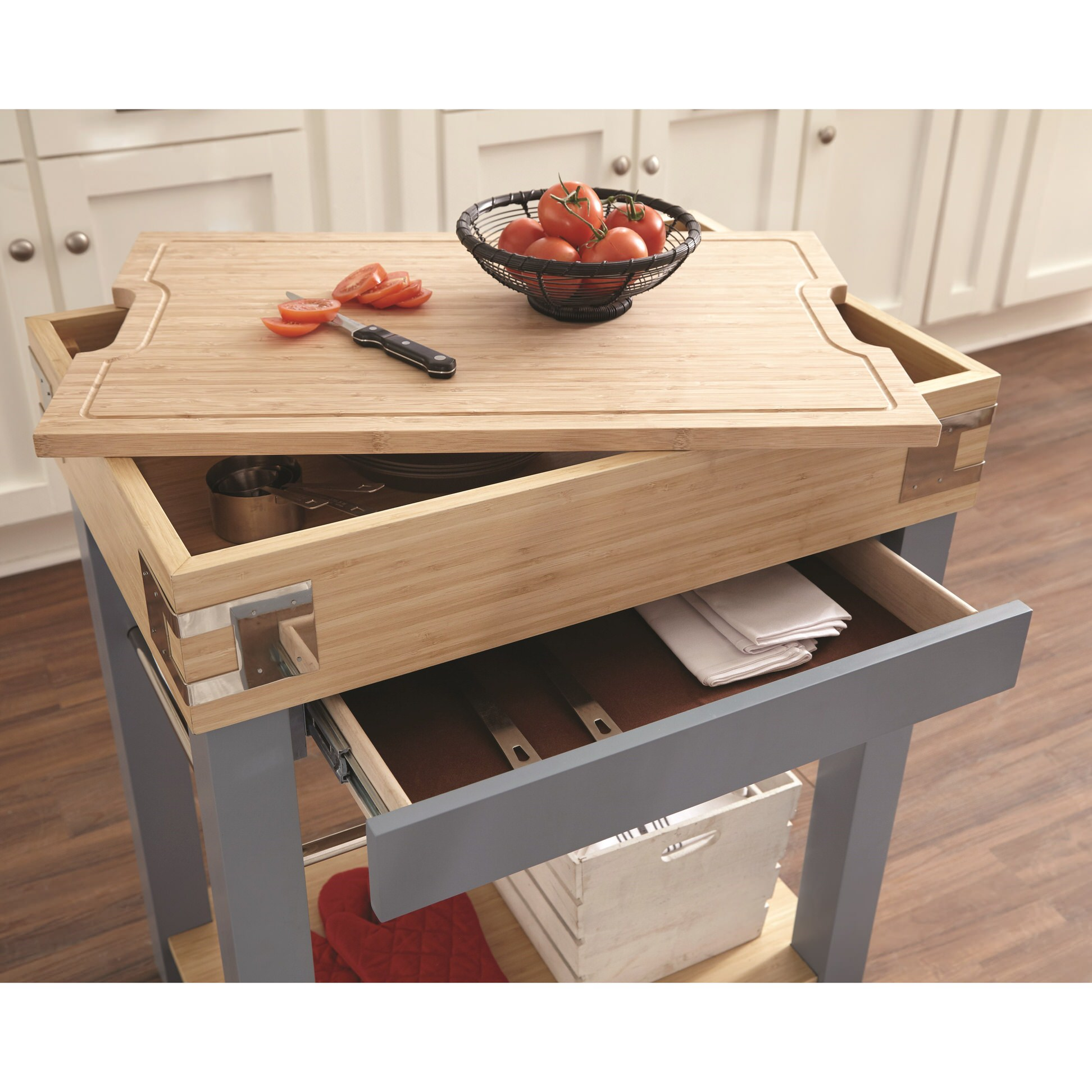 102987 Blue Kitchen Island w/ Removable Cutting Board by ...