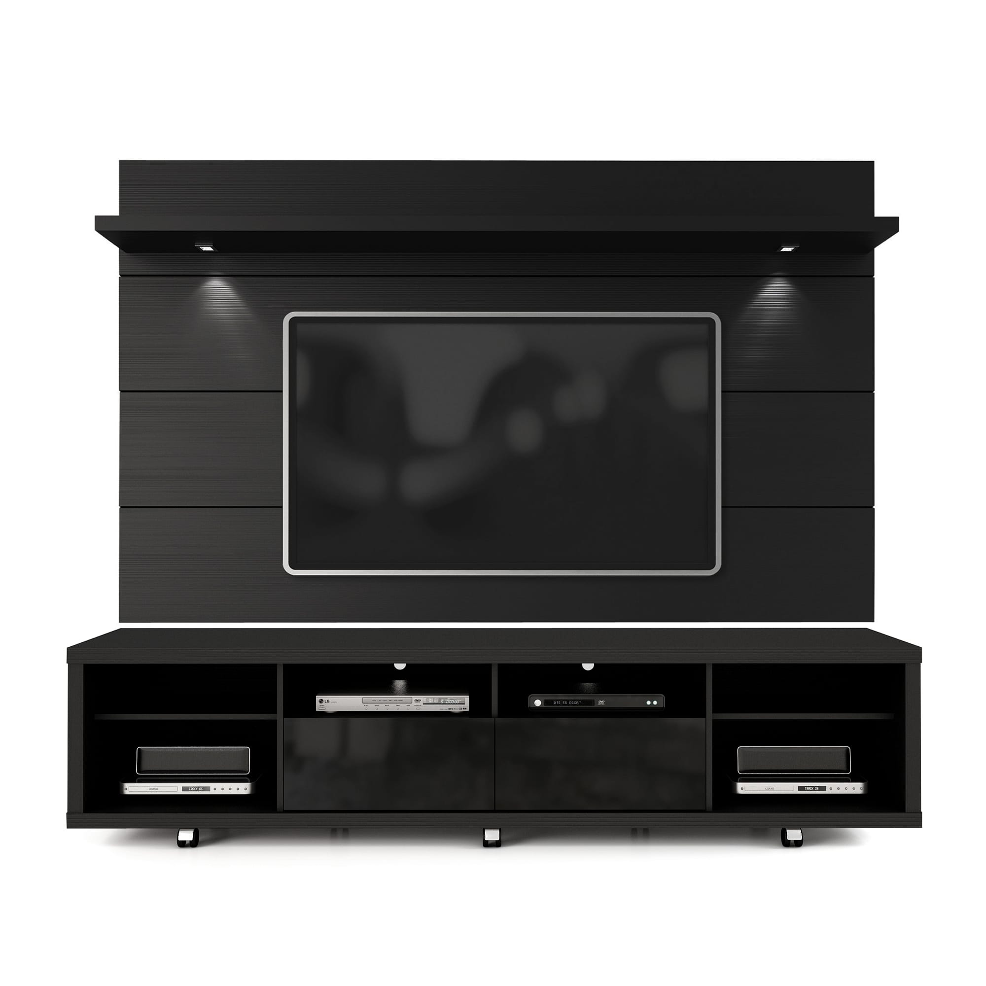 Cabrini Black Tv Stand Floating Wall Tv Panel W 2 2 Led Lights By