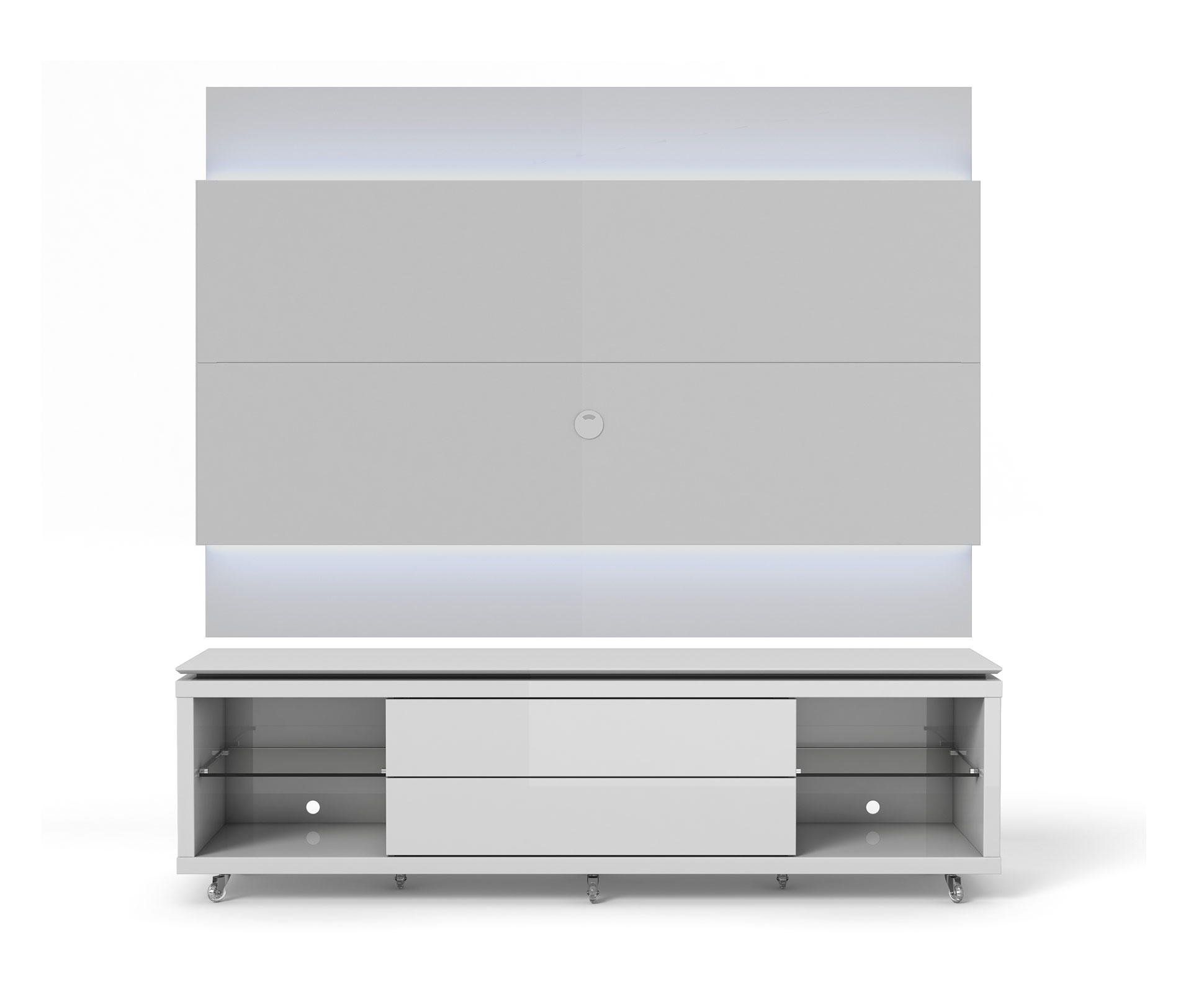Lincoln White Gloss Tv Stand W Silicon Casters Floating Wall Tv