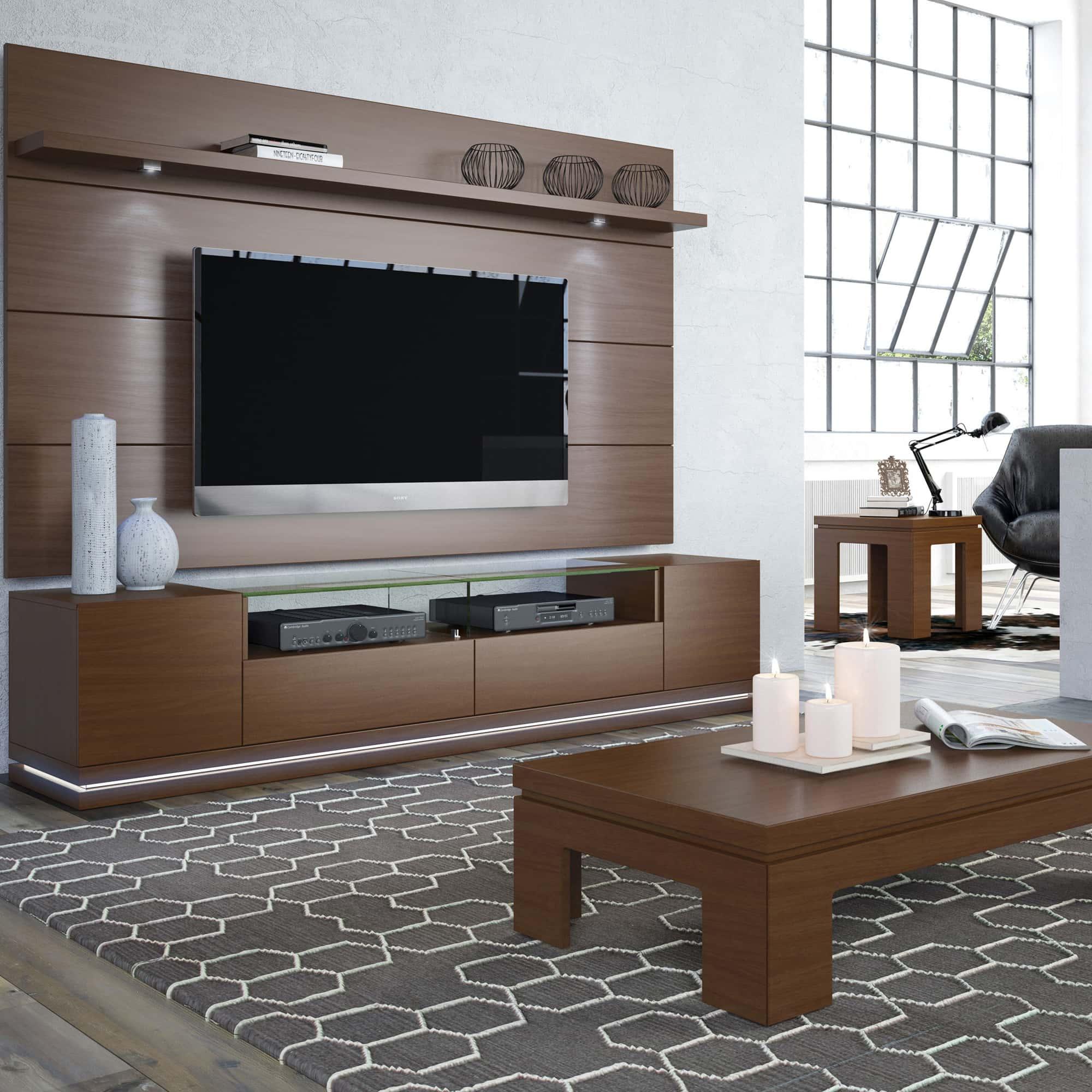 Vanderbilt Nut Brown TV Stand U0026 Cabrini 2.2 Floating Wall TV Panel W/LED  Lights