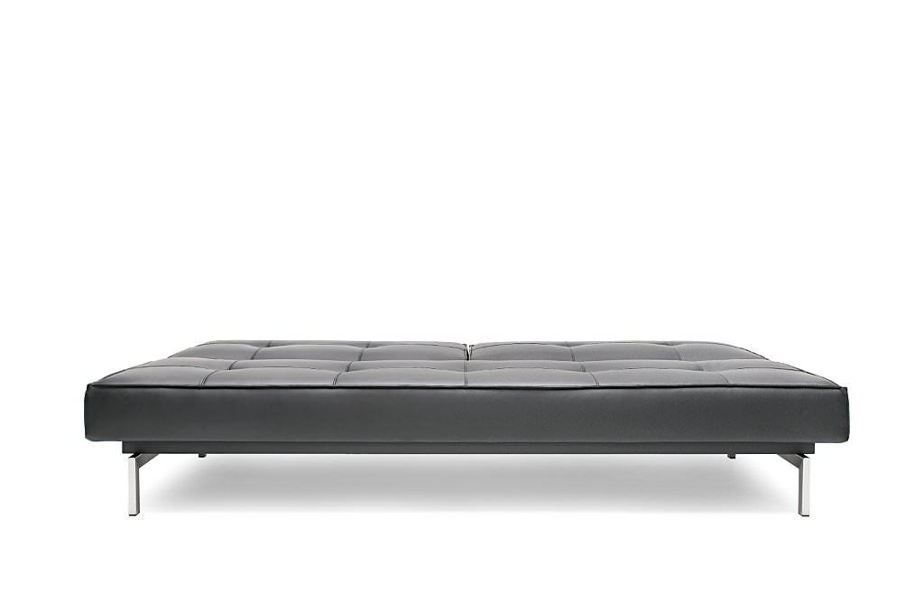 Splitback Sofa Bed Black Leather Textile By Innovation