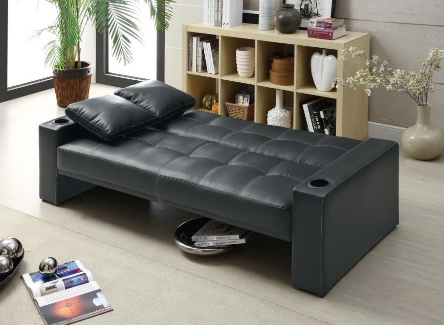 300125 Contemporary Style Black Futon Sofa Bed By Coaster Fine Furniture