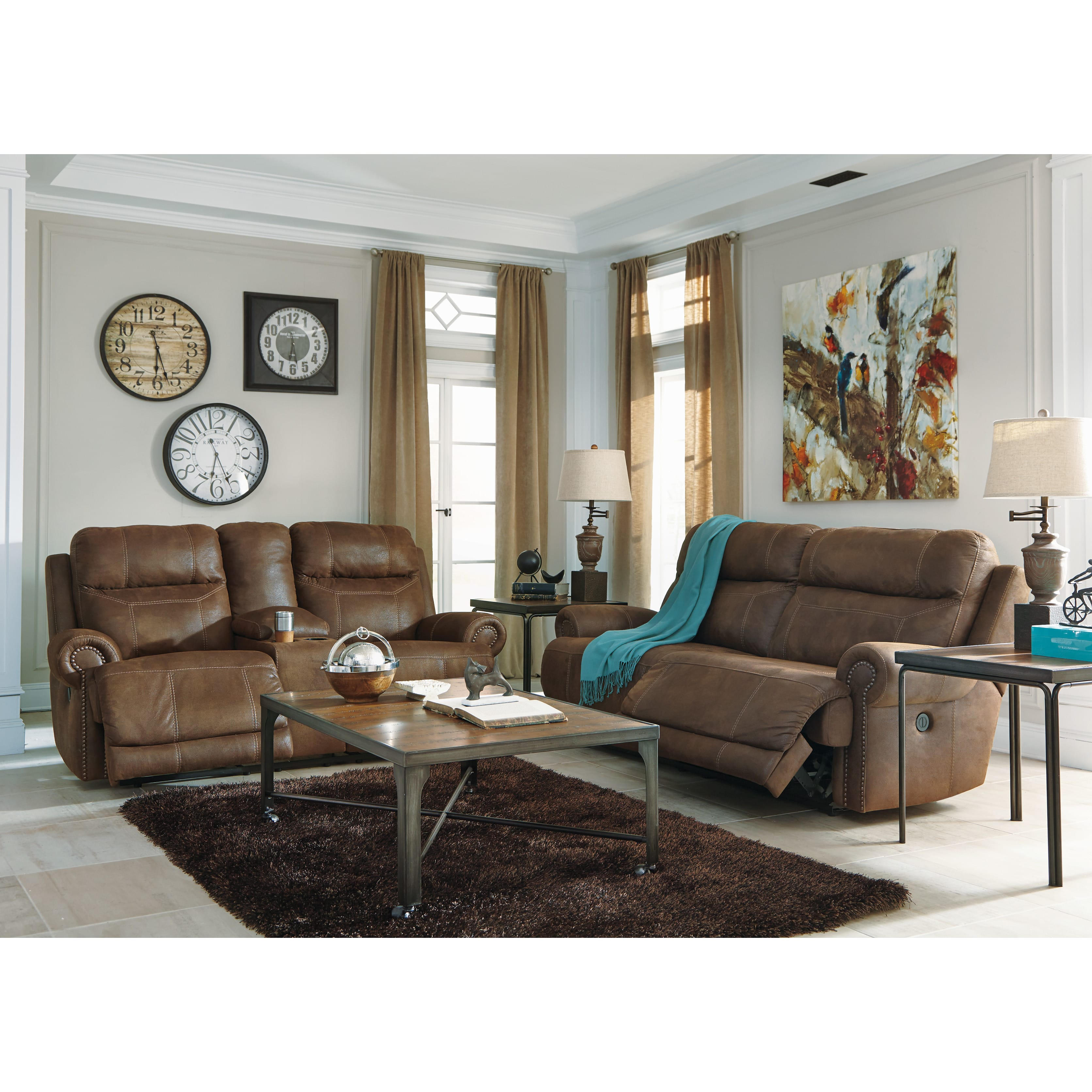 Ashley Furniture Manufacturing: Floor Sample Austere 2 Seat Brown Reclining Sofa By Ashley