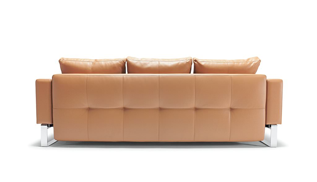 Cassius Deluxe Sofa Bed White Leather Textile by Innovation