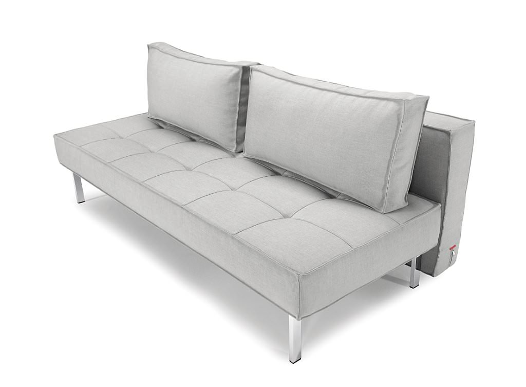 Sly Deluxe Sofa Bed Dark Grey Leather Textile By Innovation