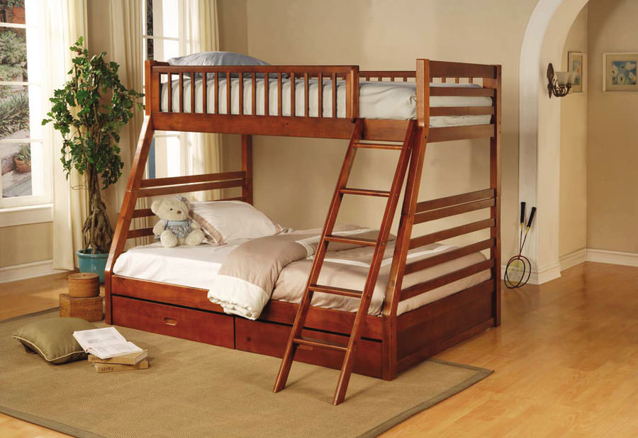 Twin Full Bunk Bed In Oak Finish By Coaster Fine Furniture
