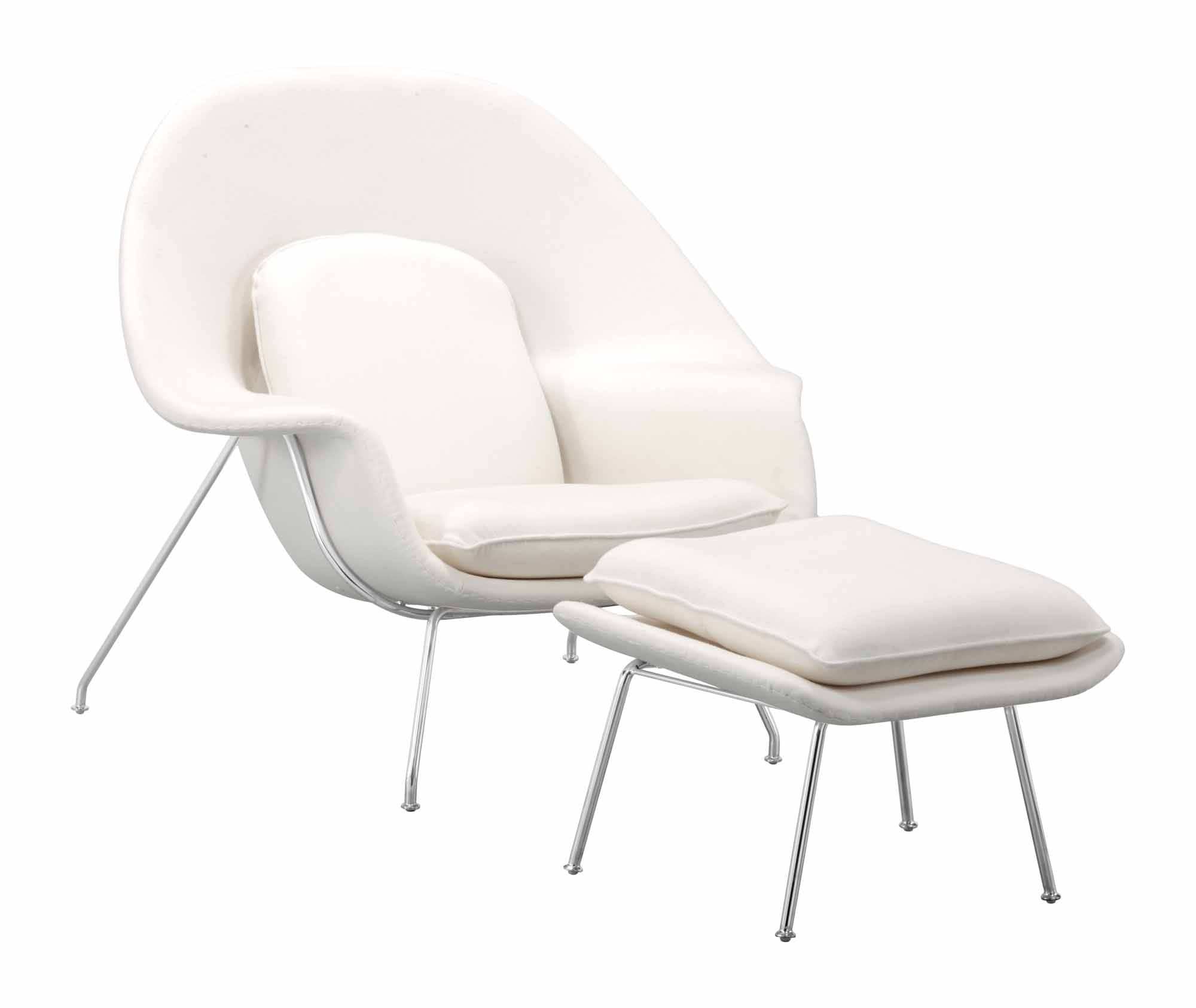 Nursery Chair And Ottoman White By Zuo Modern (Zuo Modern)