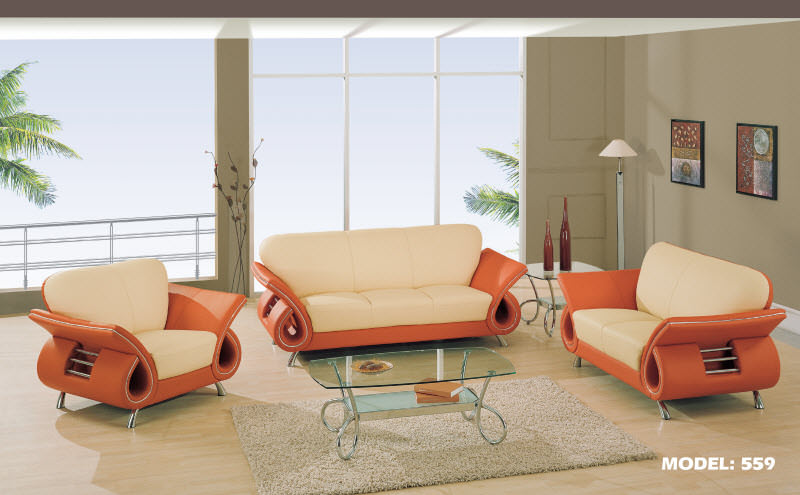 Chair 559 Beige Orange Leather Match By Global Furniture