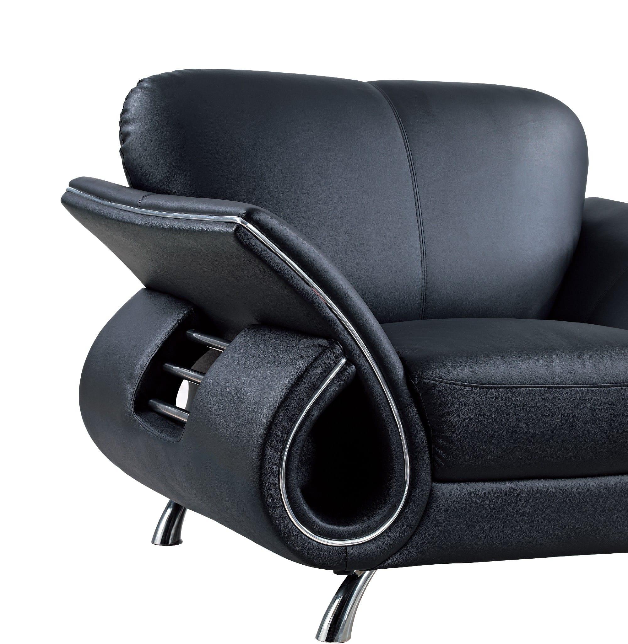 U559 Black Leather Loveseat By Global Furniture