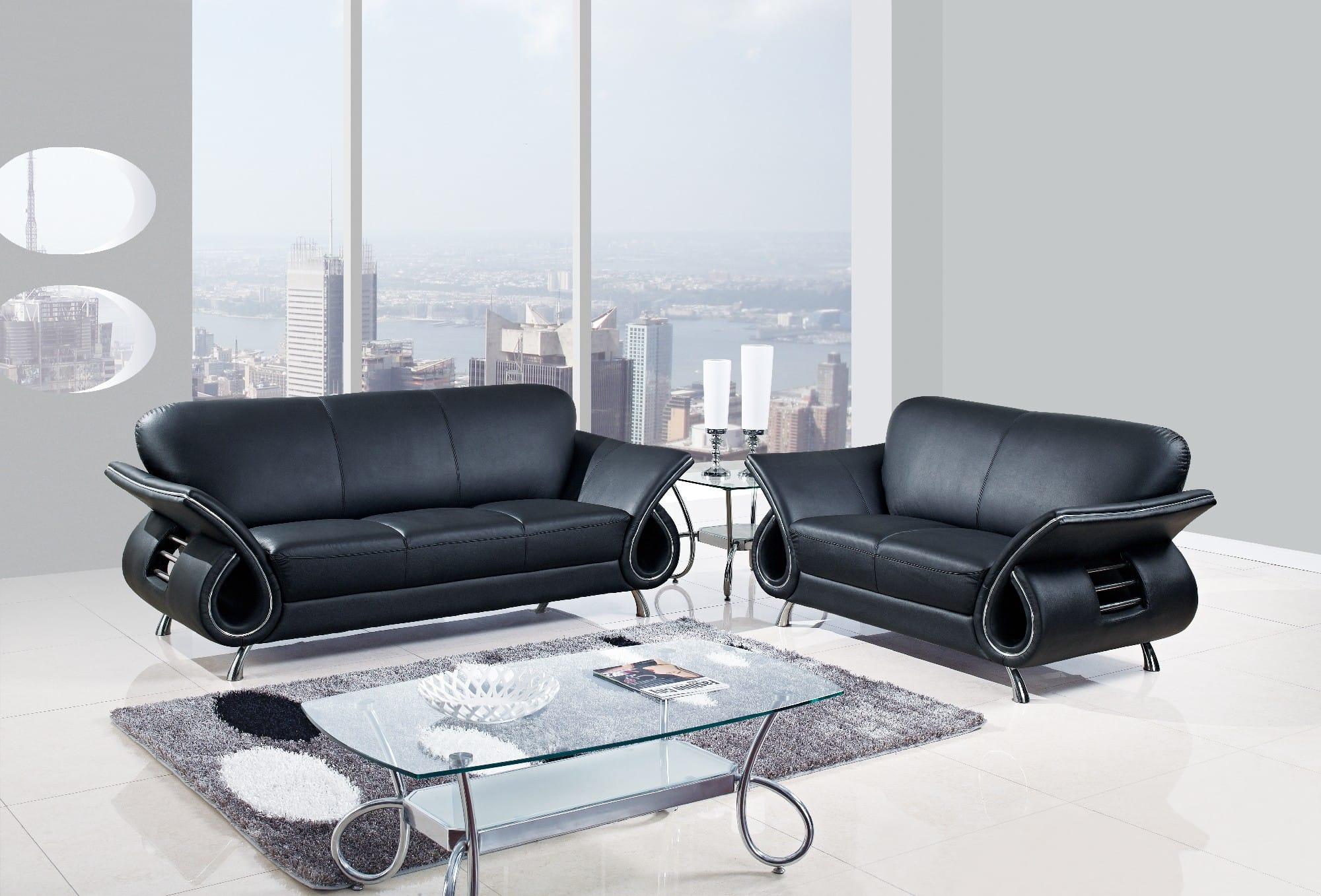 U559 Black Leather Sofa by Global Furniture