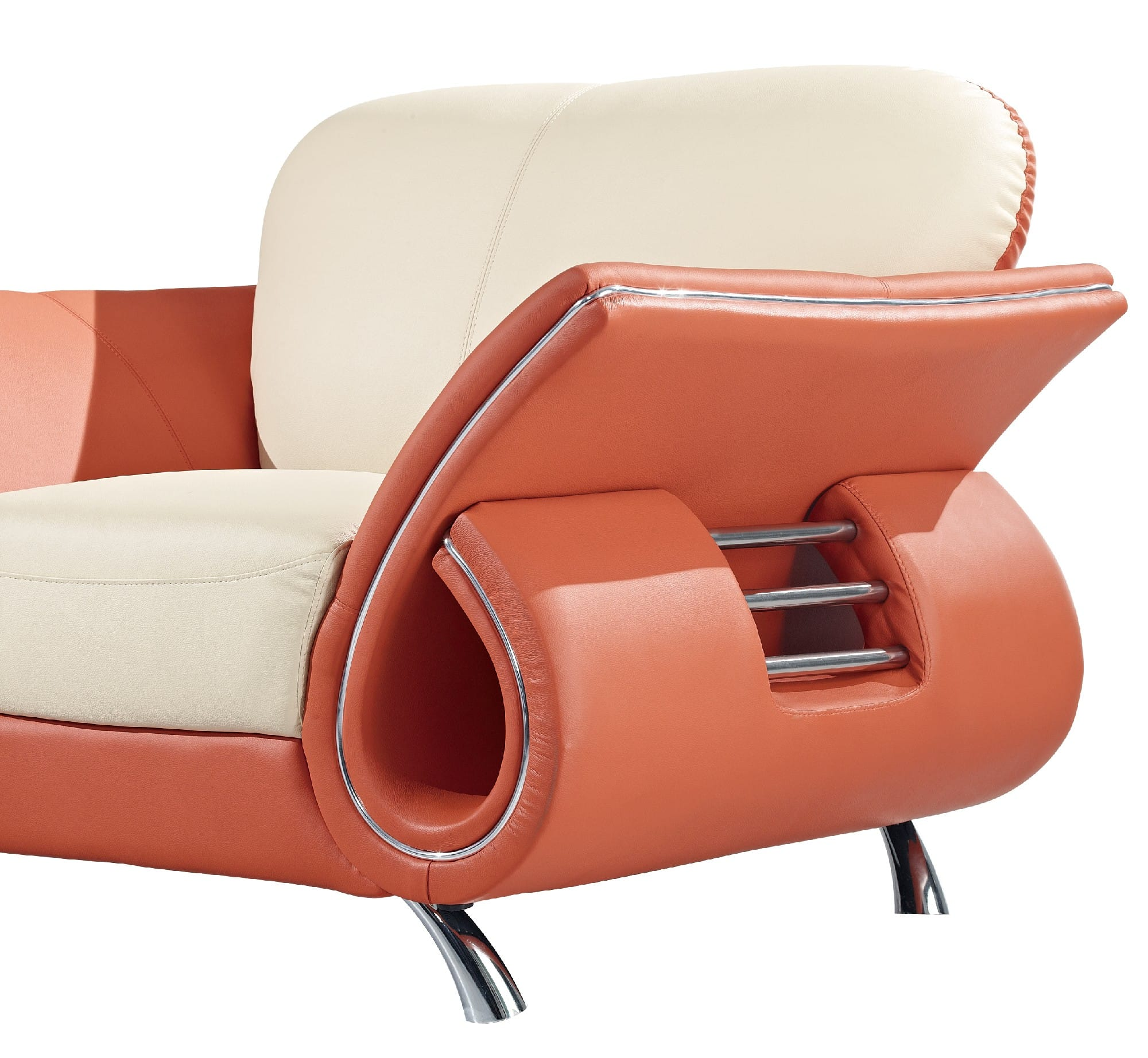 U559 Beige Orange Leather Loveseat By Global Furniture