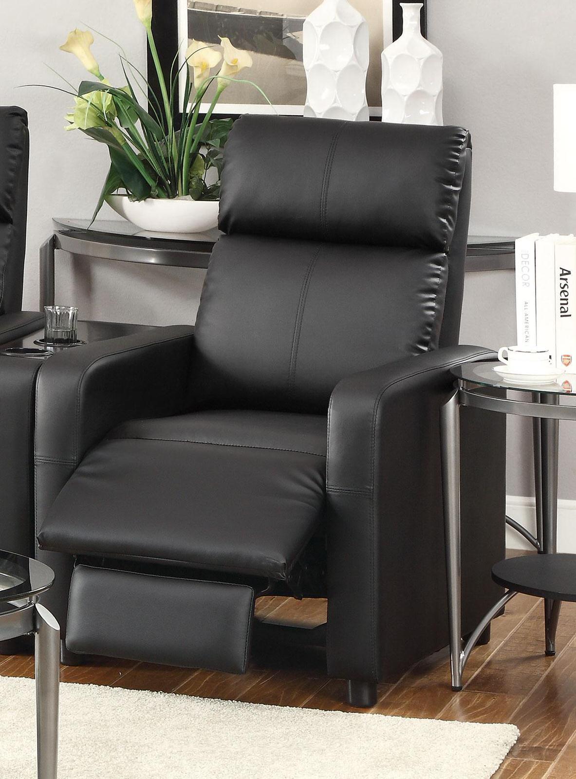 600181 push back chair recliner black vinyl by coaster coaster fine furniture