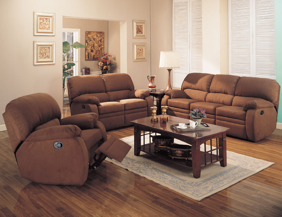 Floor Sample 600411 Reclining Sofa And Love Seat Chocolate By Coaster