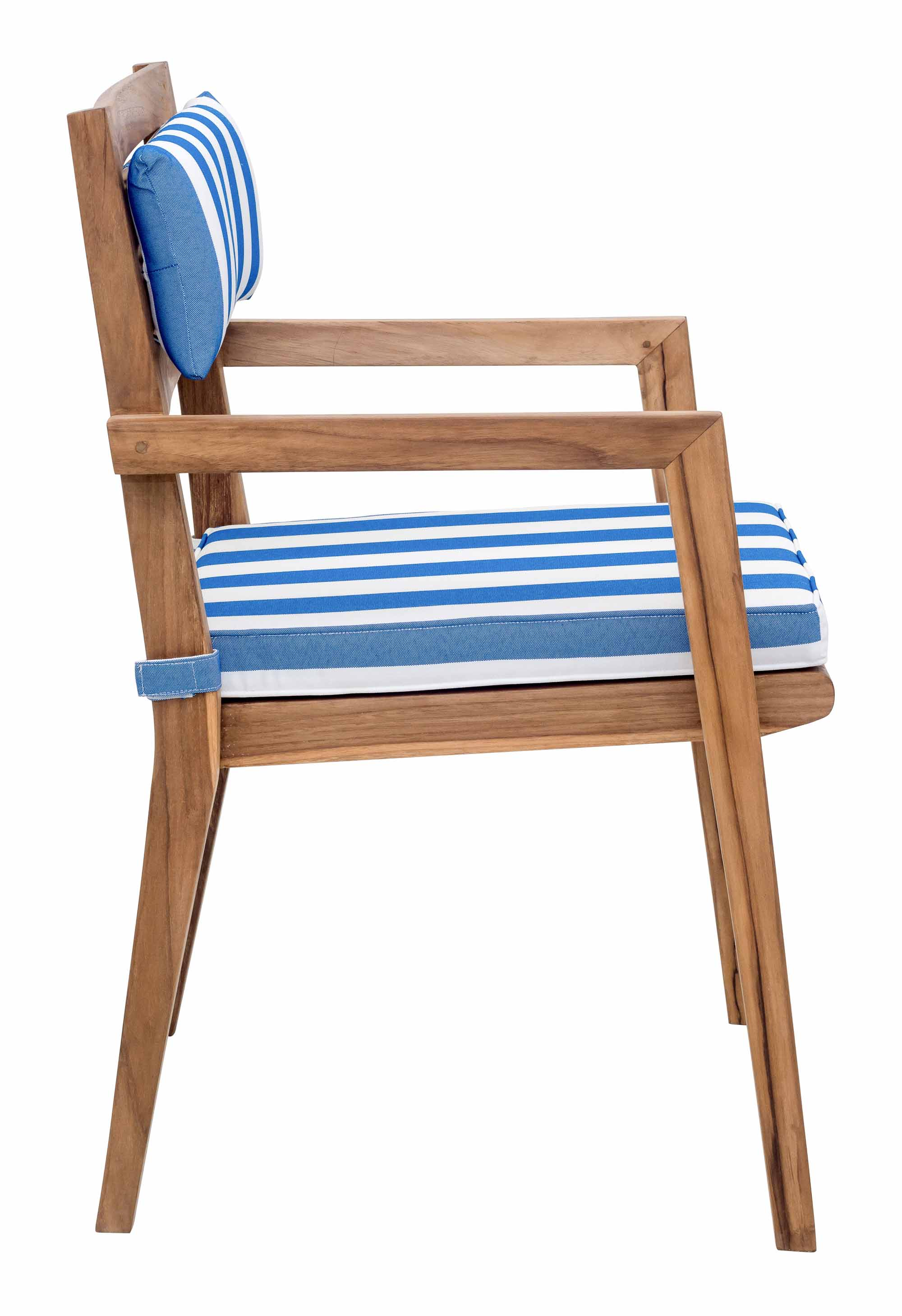 Nautical Chair Back Cushion Blue & White (Set of 2) by Zuo Modern