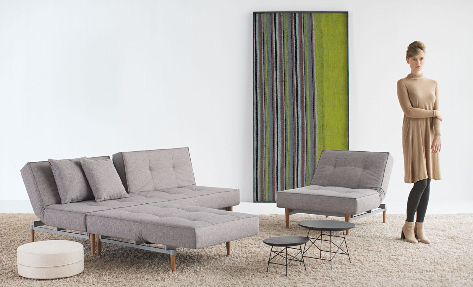 Splitback Sofa Bed Mixed Dance Gray By Innovation (Innovation USA)