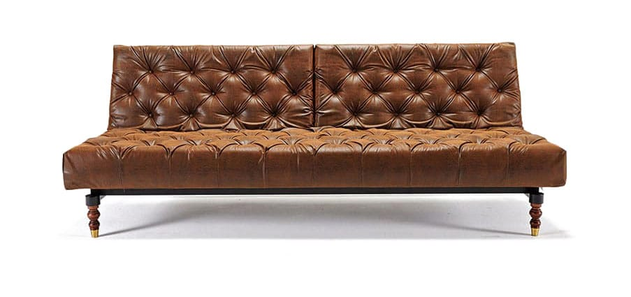 Oldschool Chesterfield Sofa Bed Vintage Brown Leather Textile Innovation Usa