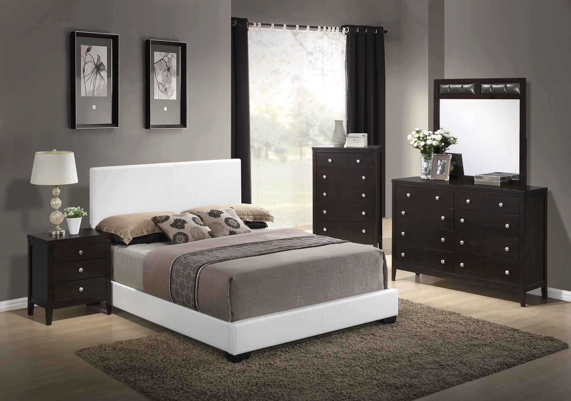 Rosa Antique Black Bedroom Set W 8103 White Pu Bed By