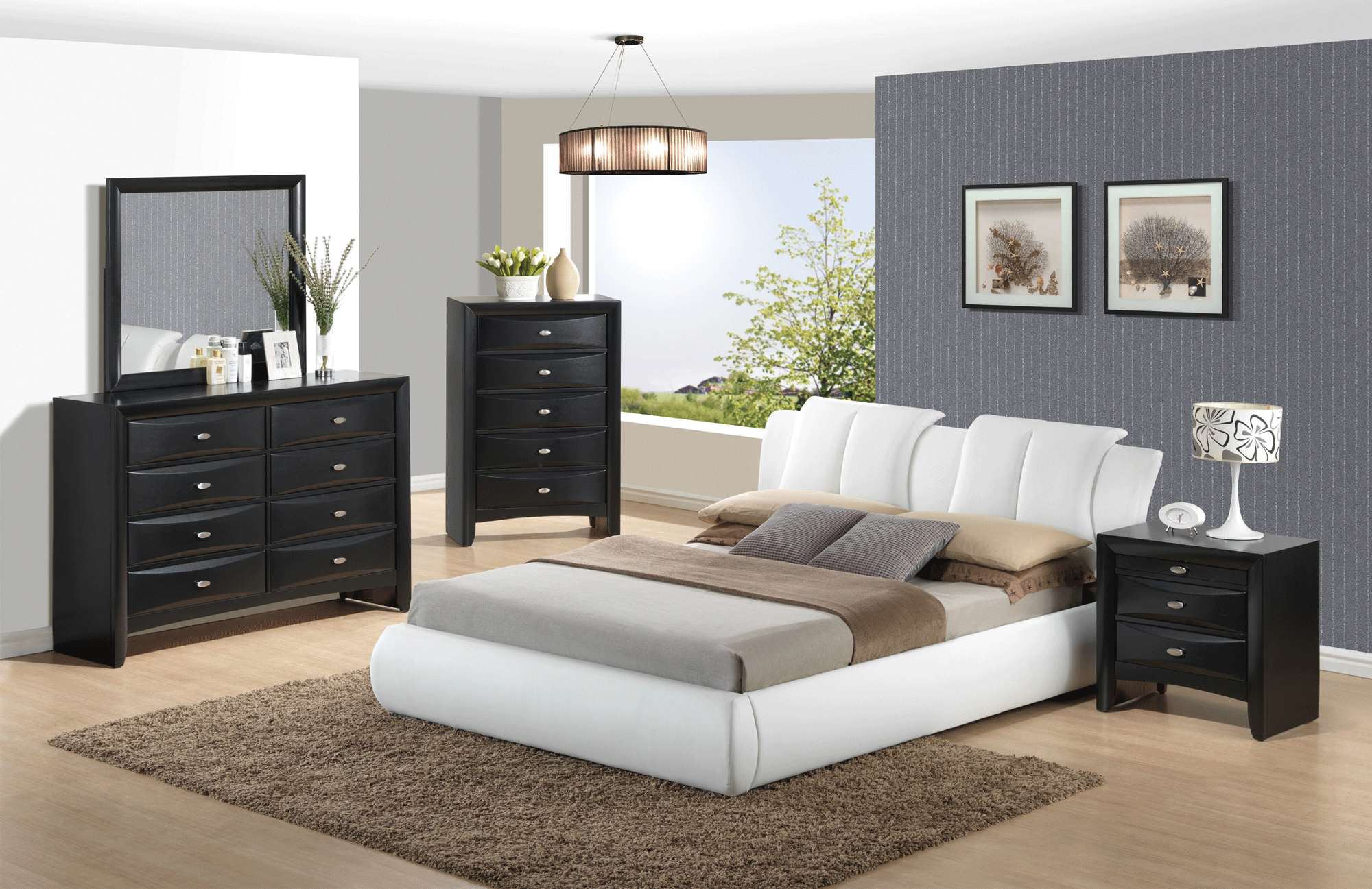 Linda Black Bedroom Set W 8269 White Pu Bed By Global