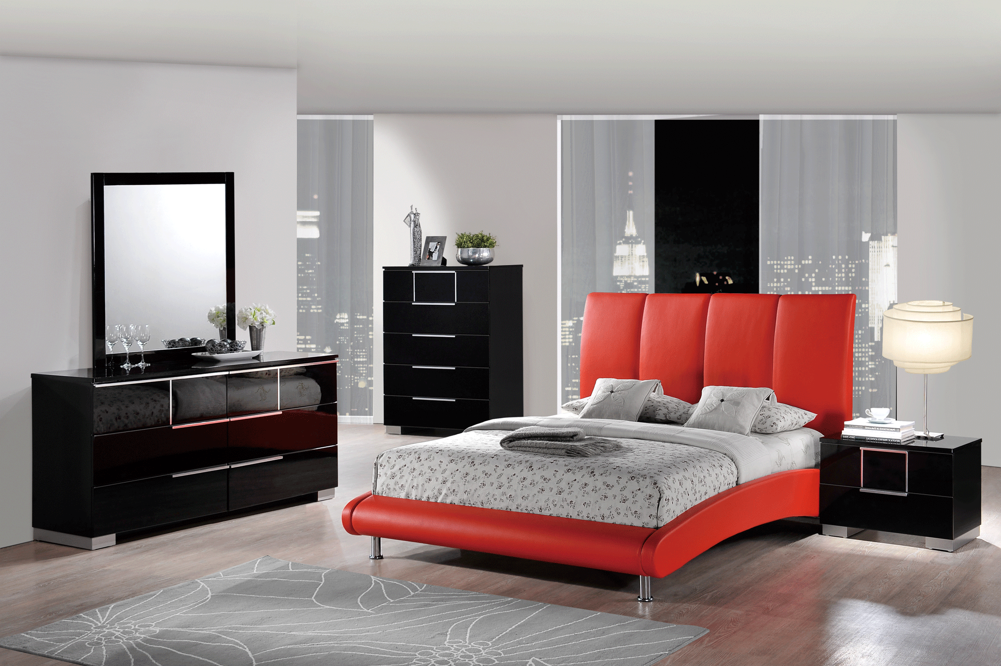 Black and red bedroom set - Hailey Black Bedroom Set W 8272 Red Pu Bed By Global Furniture