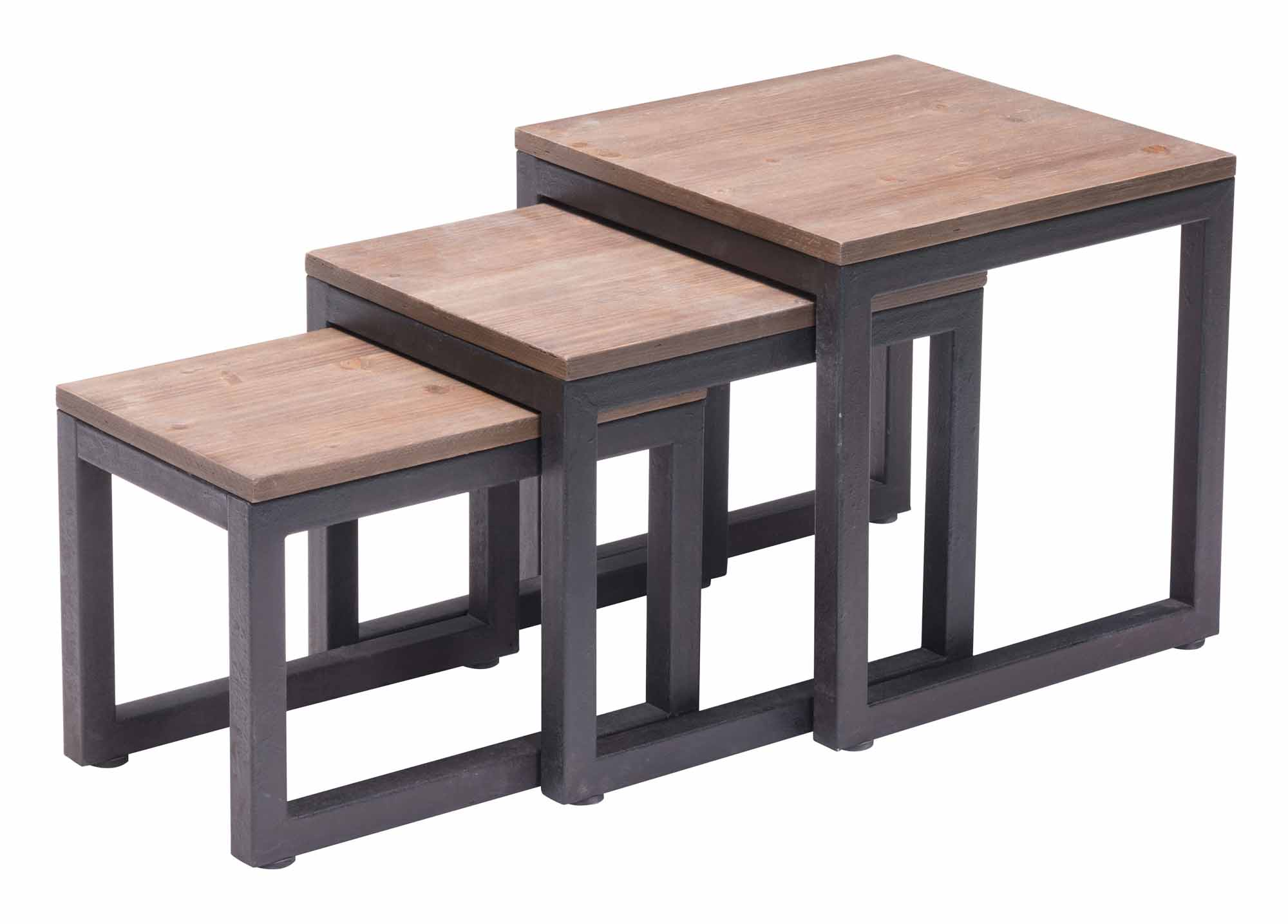 Civic Center Nesting Tables Distressed Natural by Zuo Modern