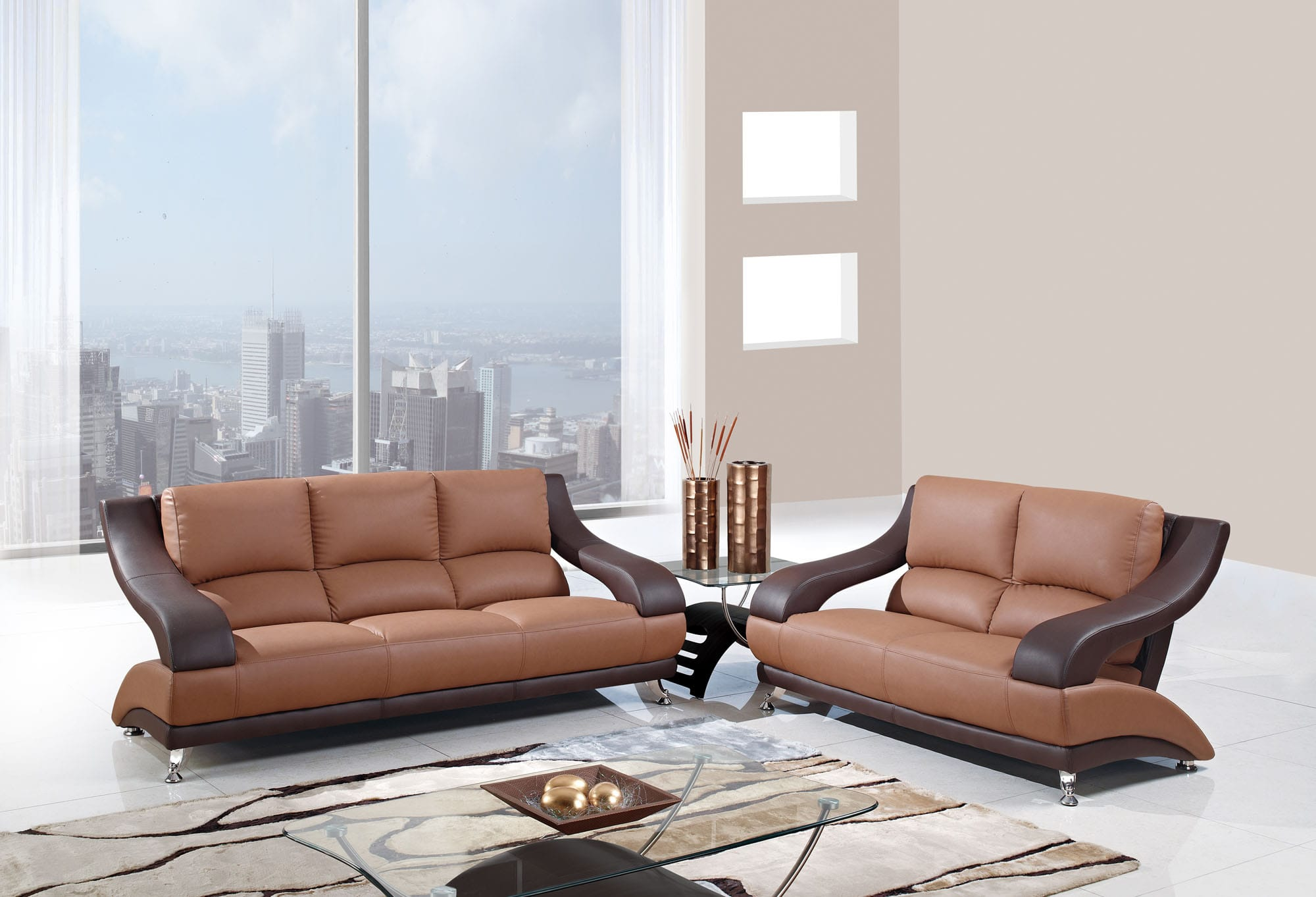 U982 Tan Brown Bonded Sofa by Global Furniture