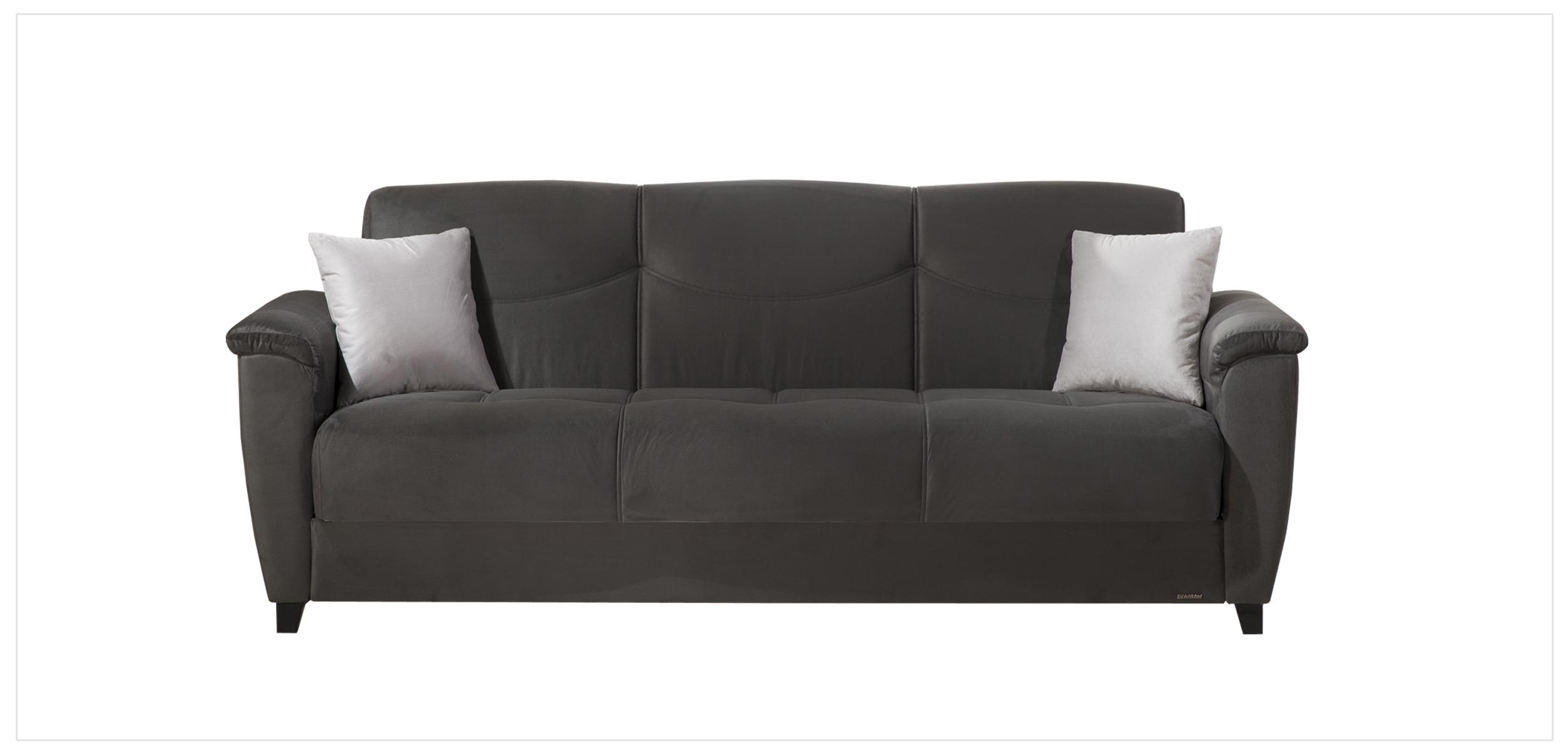 aspen rainbow dark grey convertible sofa bed by sunset night