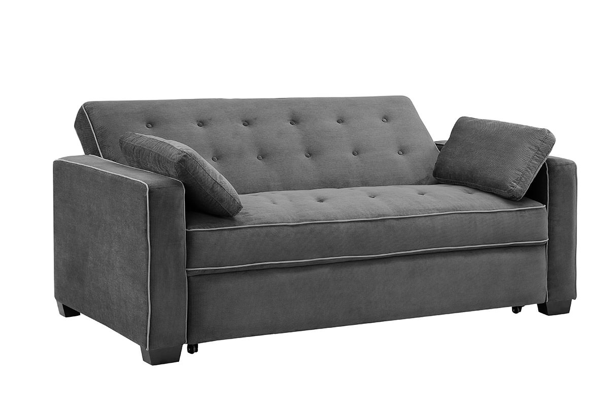 Augustine Loveseat Queen Size Sleeper Moon Grey By Serta