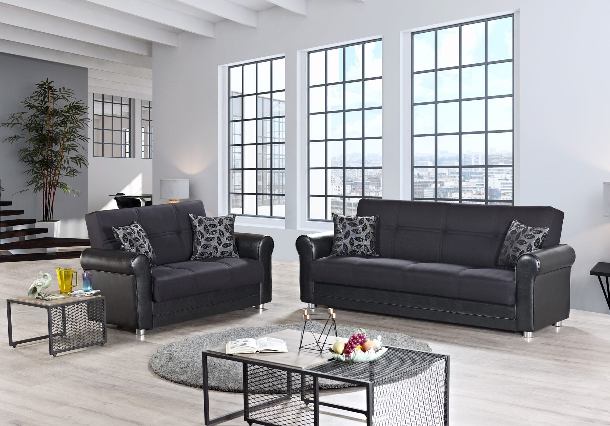 Avalon Plus Prusa Black Convertible Sofa by Casamode