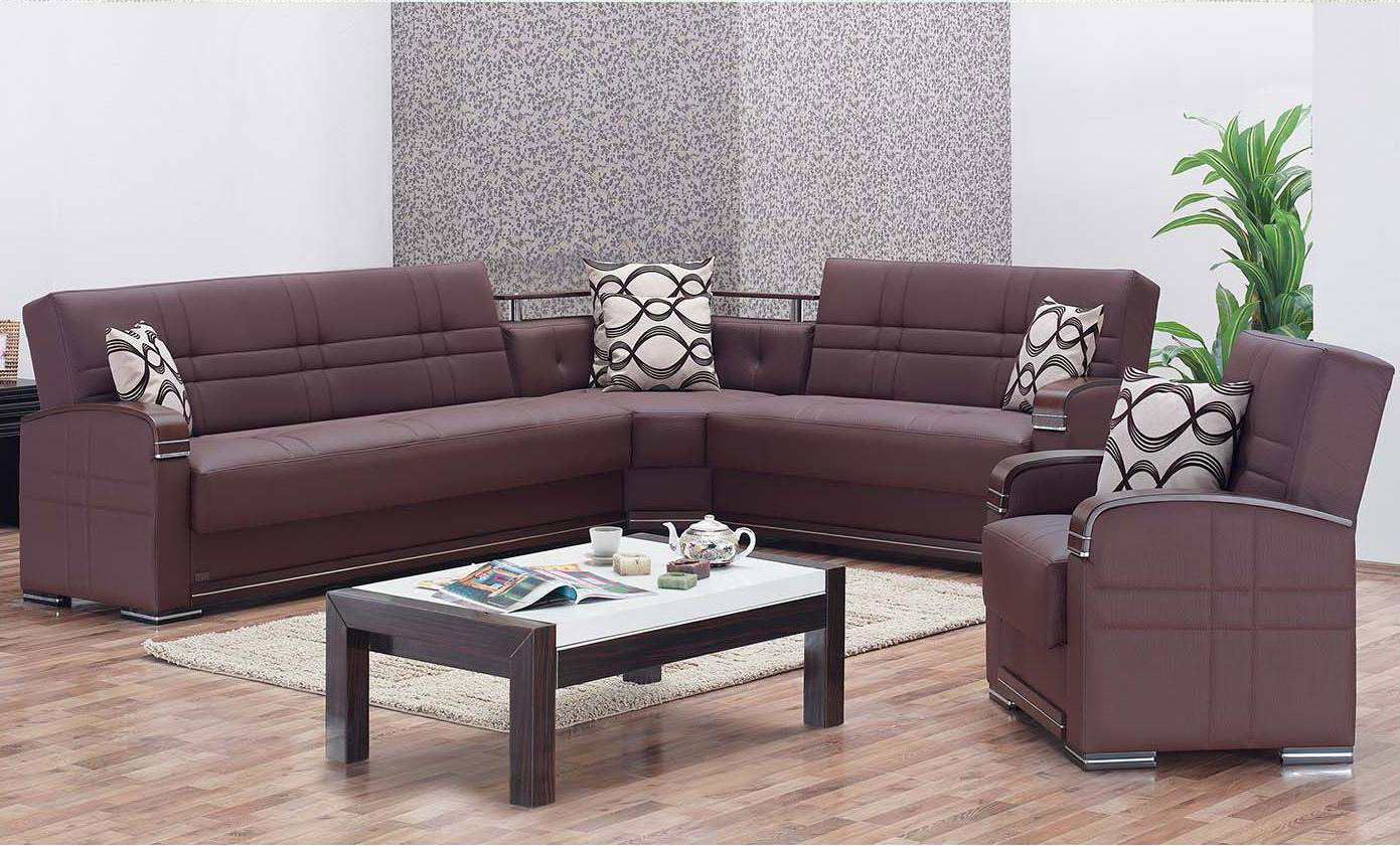 Alpine Brown Leather Sectional Sofa By Empire Furniture Usa