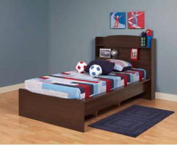Aspen Twin Platform Bed Bookcase Headboard
