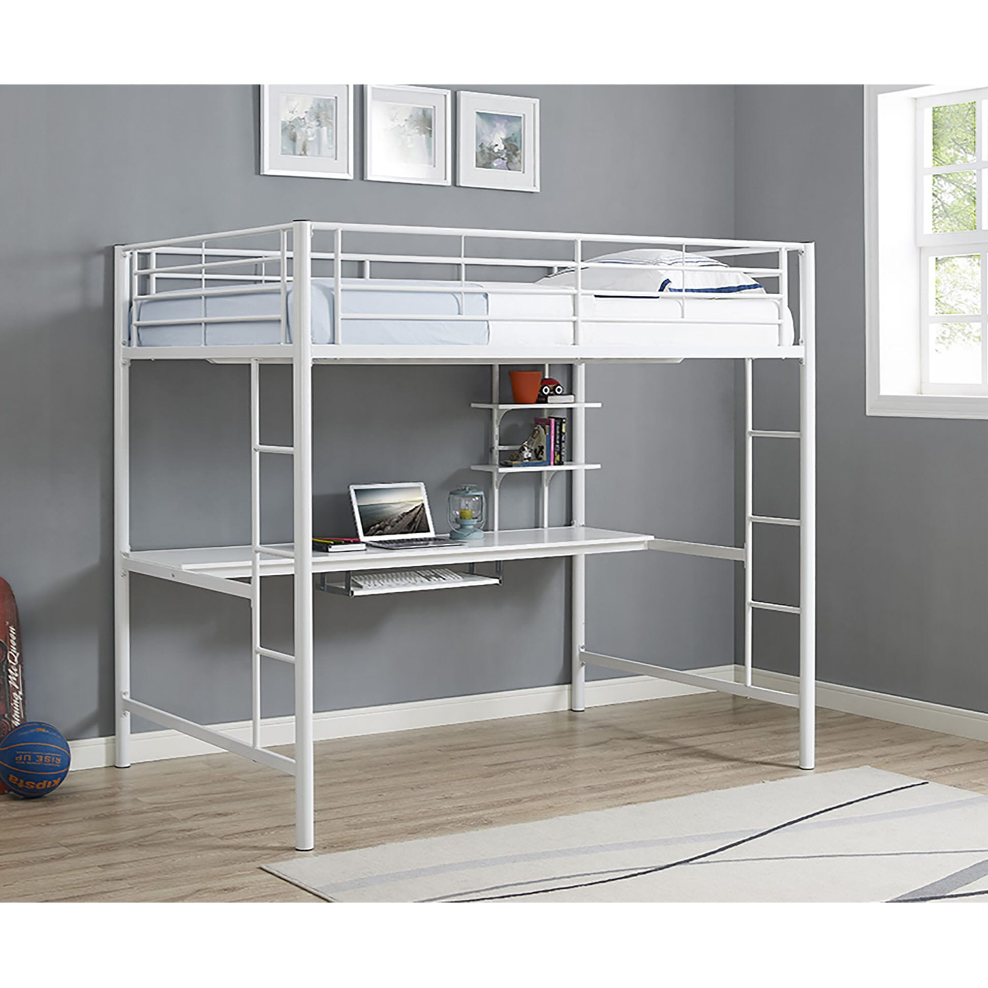 Metal Full Loft Bed With Workstation White By Walker Edison