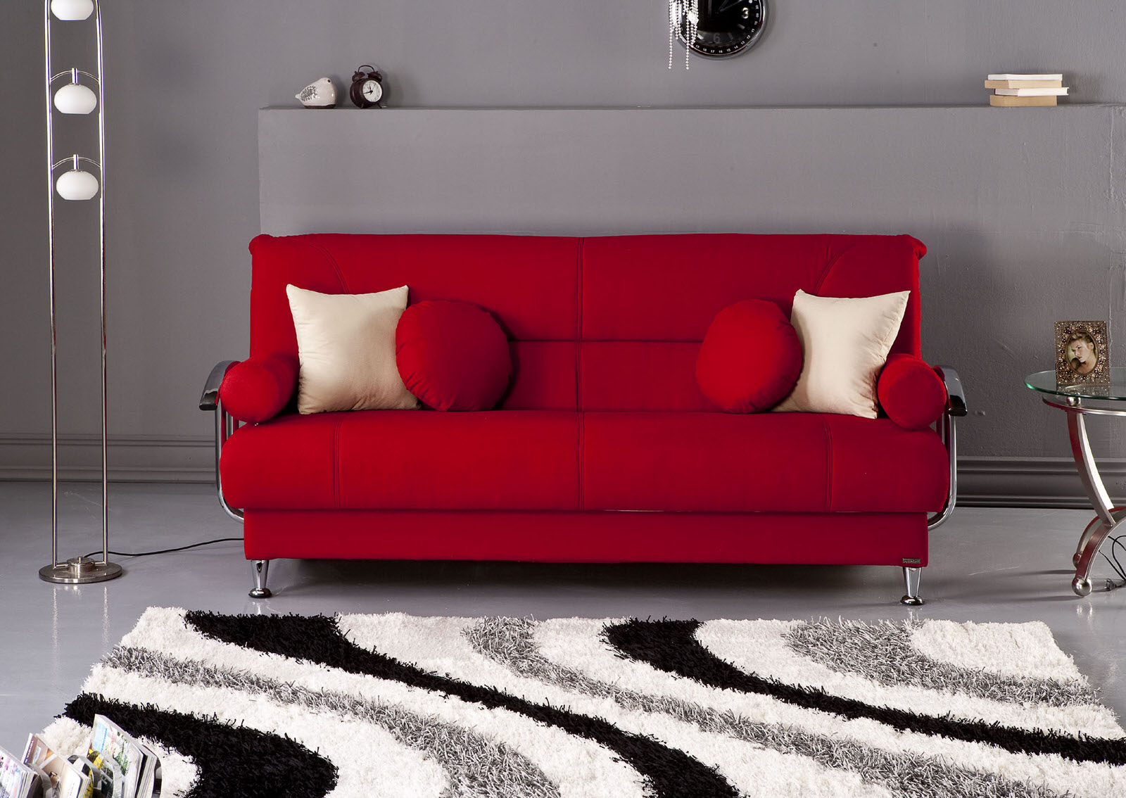 Living Room With Red Furniture Red Convertible Sofa Hotornotlive