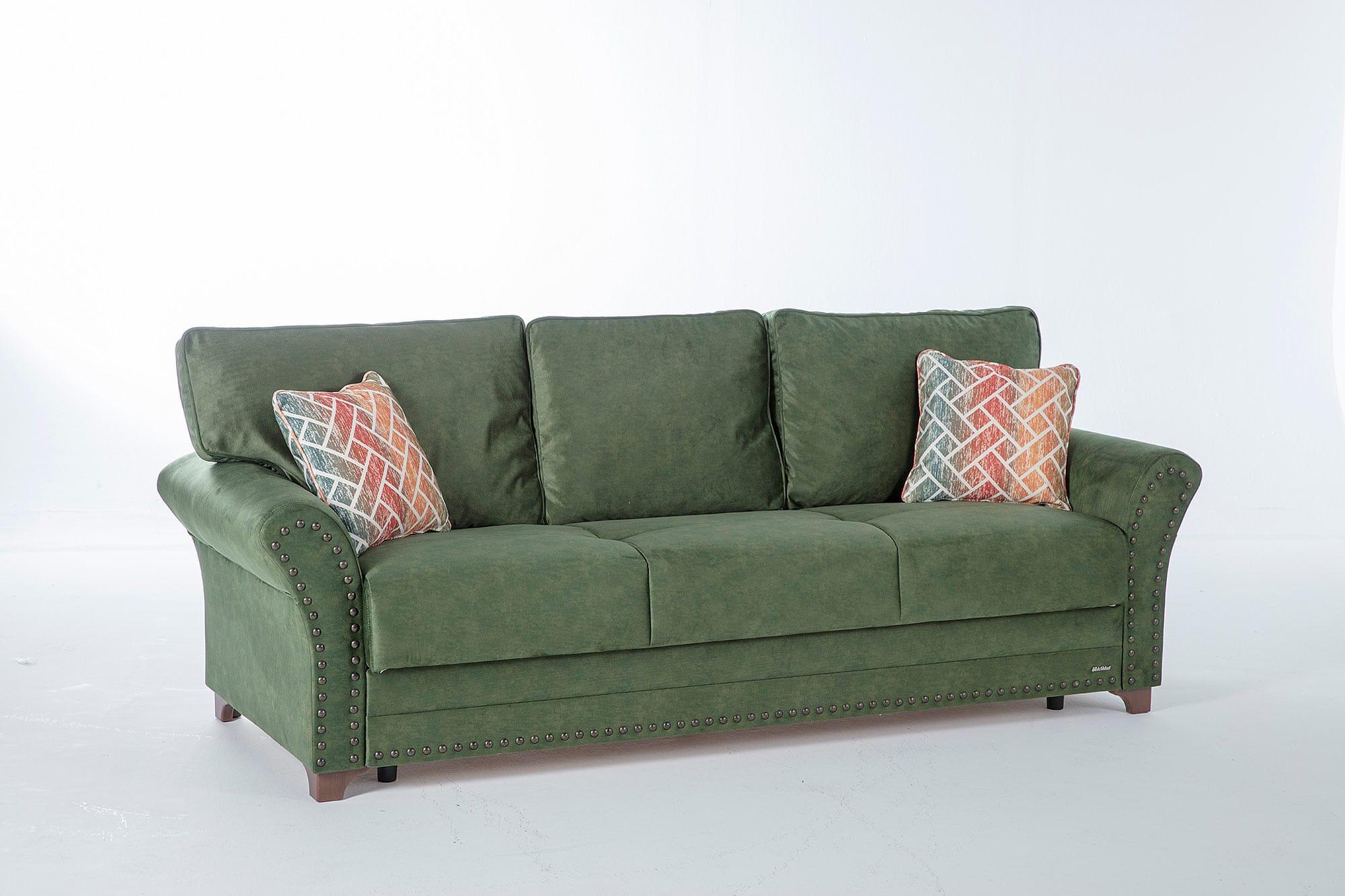 Brady Samba Green W Memory Foam Convertible Sofa Bed By Istikbal Sunset
