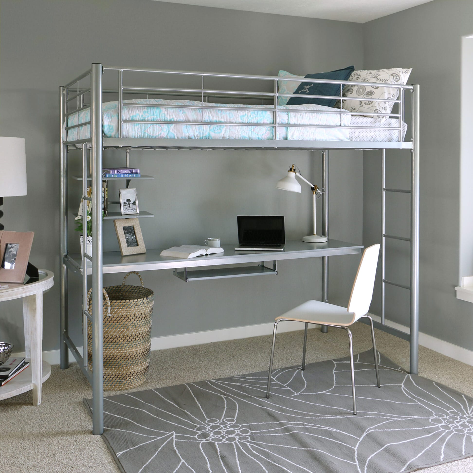 Sunset Twin Over Workstation Bunk Bed Silver By Walker Edison
