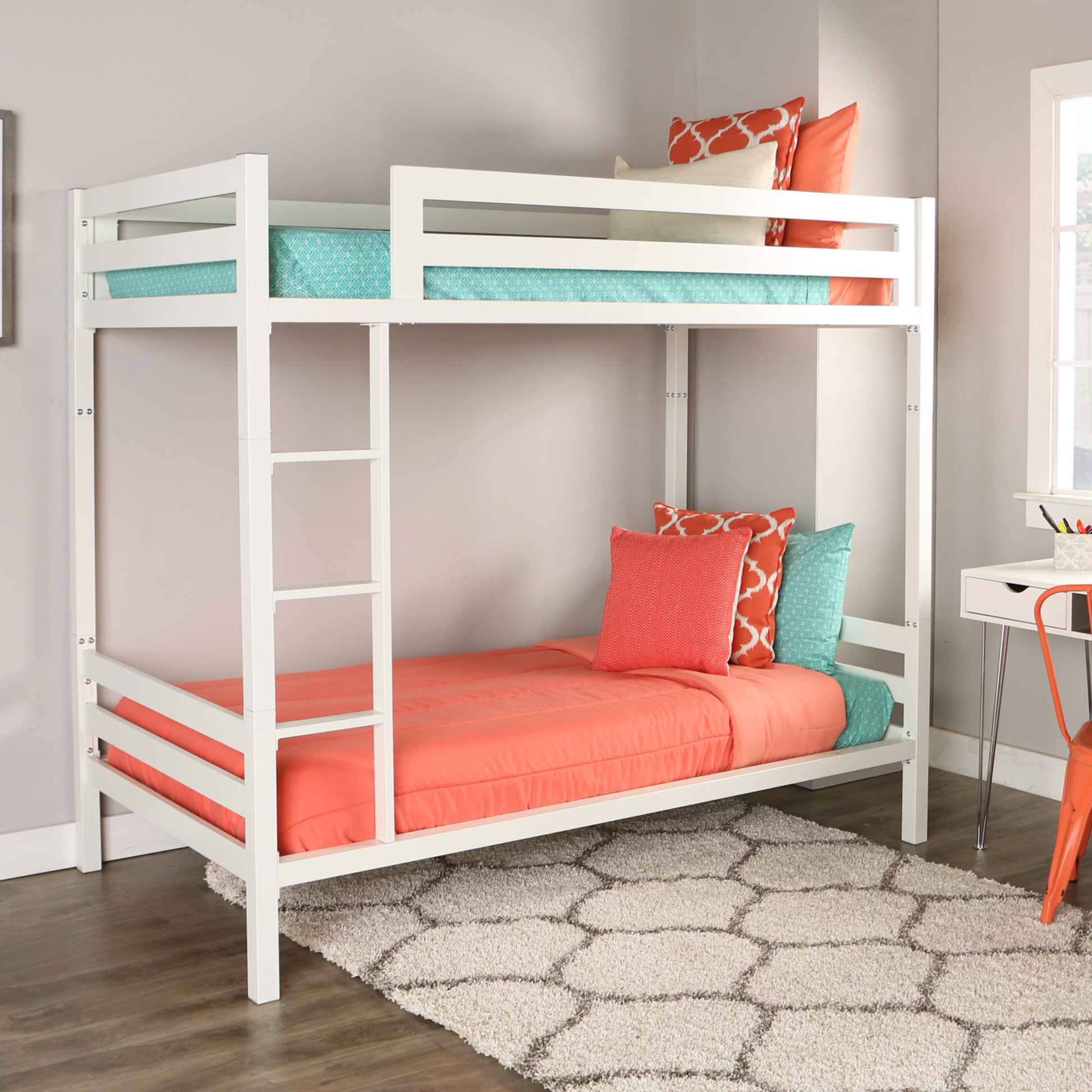 Bentley Twin Over Twin Metal Bunk Bed White By Walker Edison