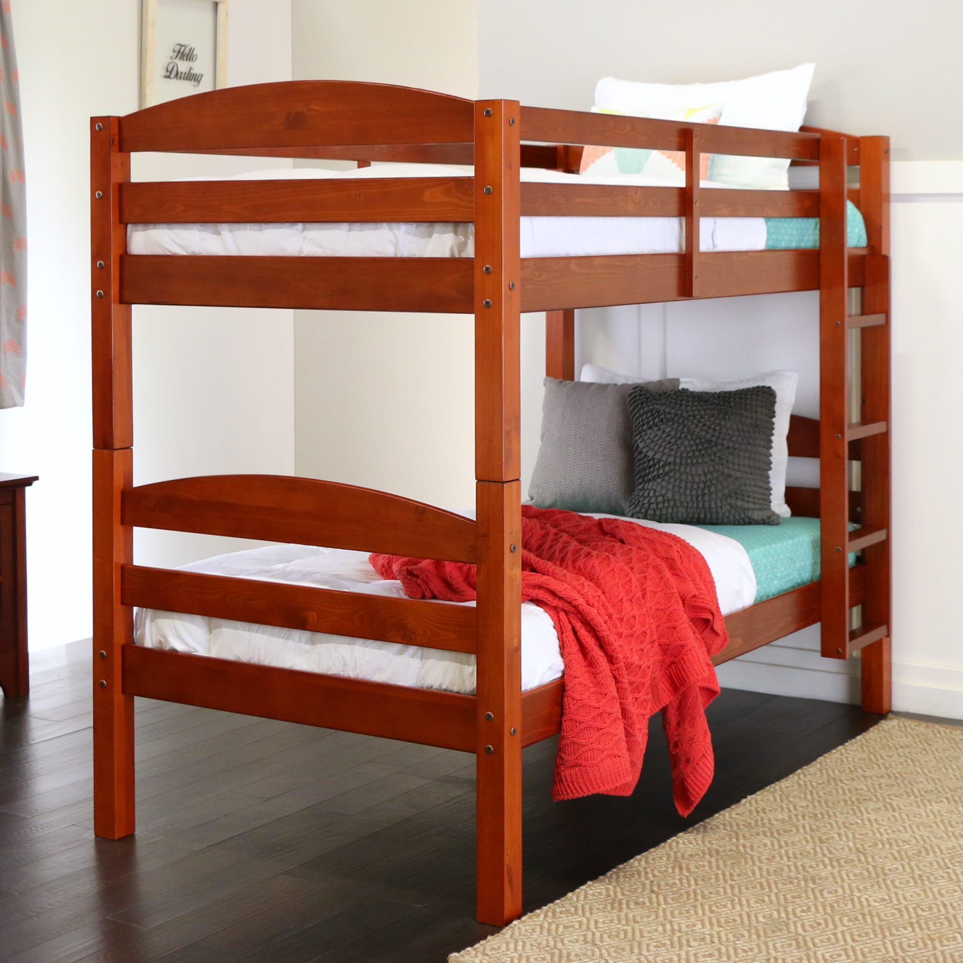 Carolina Twin Over Twin Bunk Bed Cherry By Walker Edison