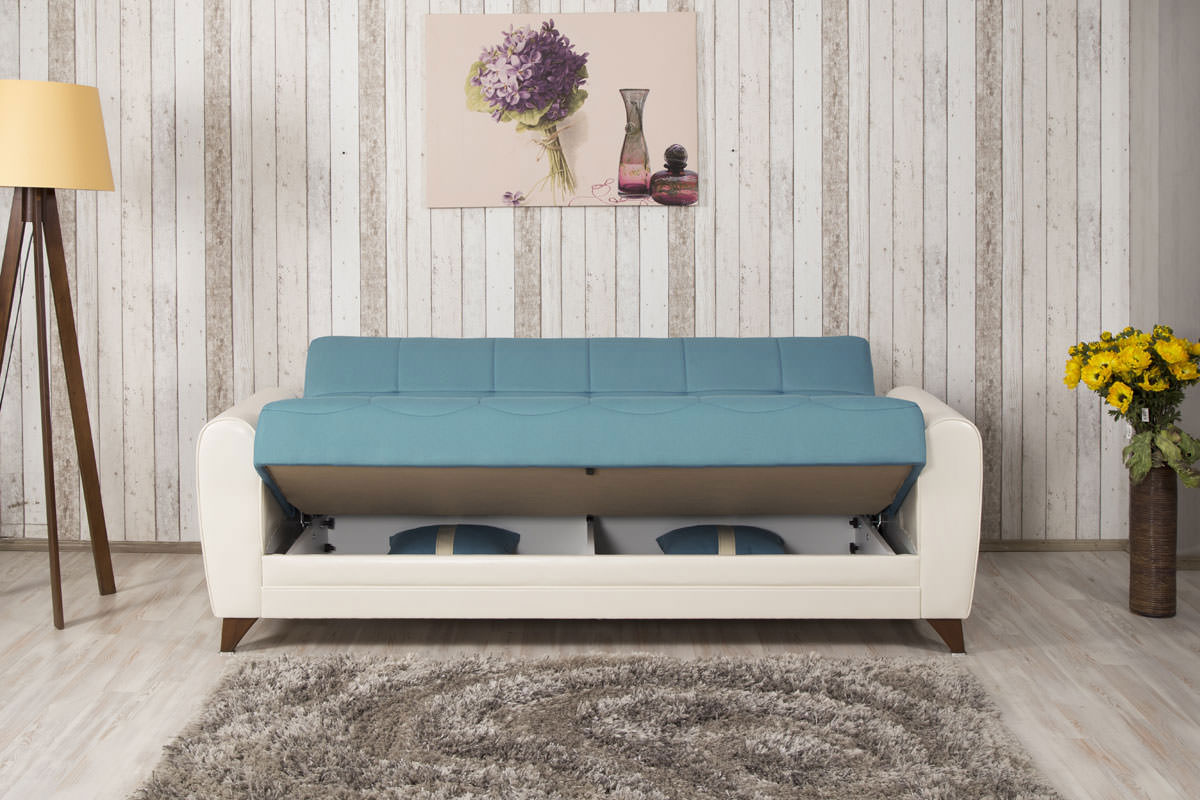 Bella Vista Prusa Blue Convertible Sofa Bed By Casamode