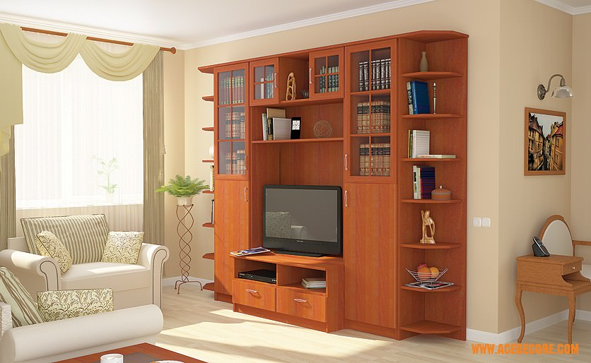 Boston Italian Chestnut Entertainment Center By Ace Decor (Ace Decore)
