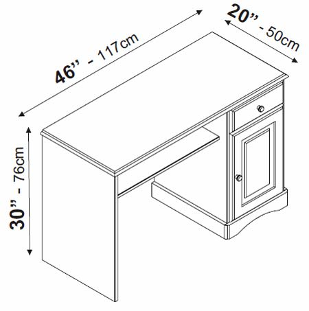 White Desk With Pull Out Drawer