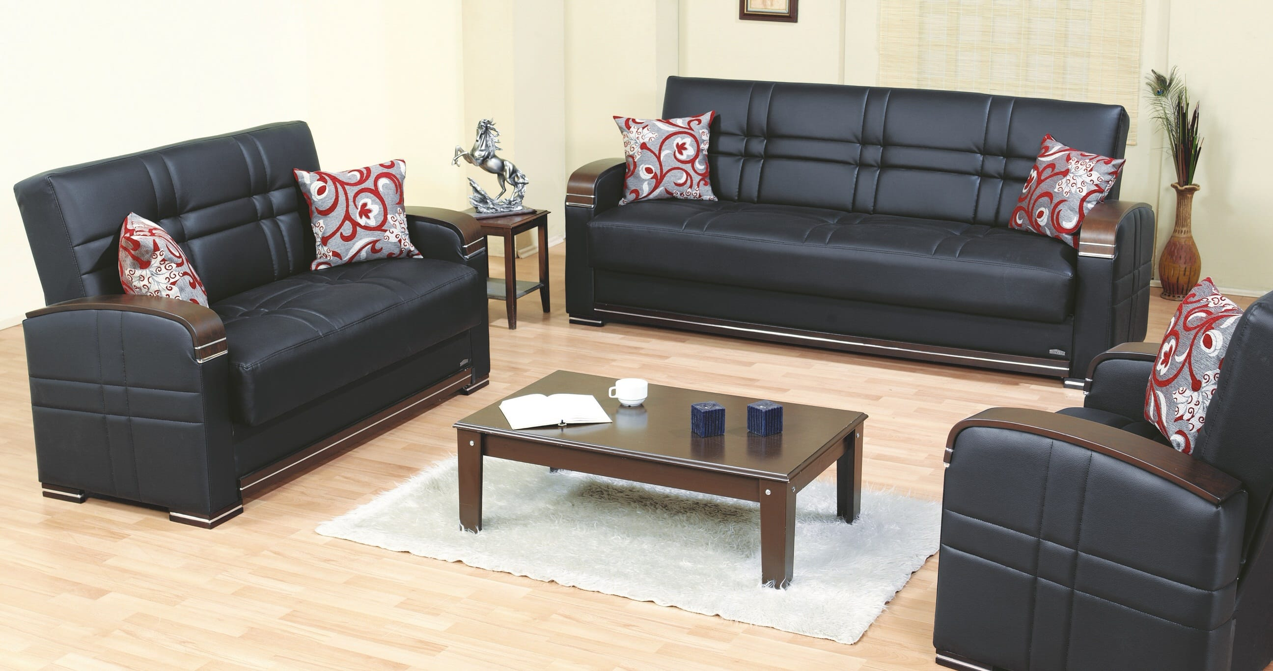 Bronx black leather sofa bed by empire furniture usa for Divan furniture usa