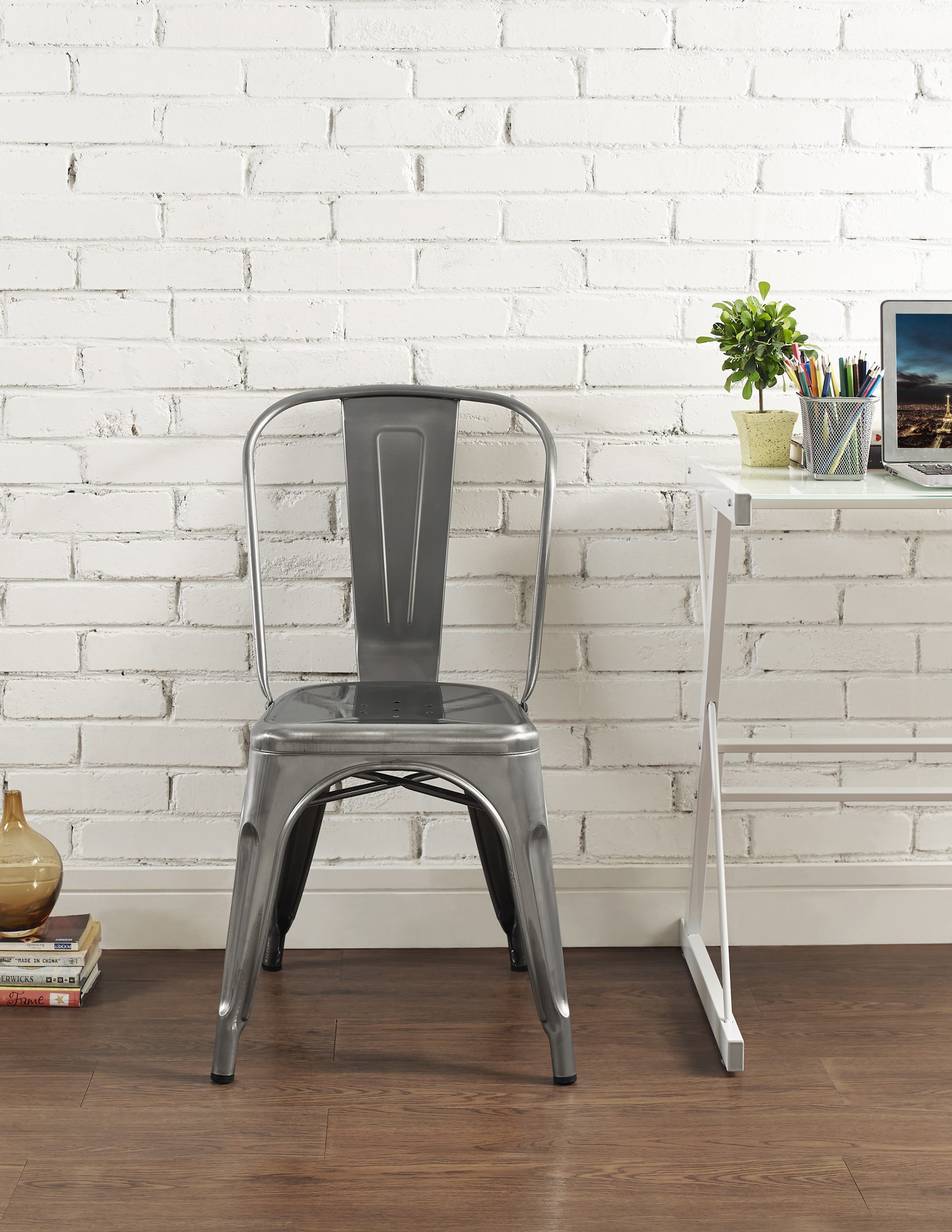 Metal Cafe Chair   Gun Metal By Walker Edison (Walker Edison)