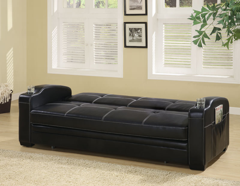 Contemporary Black Vinyl Sofa Bed By Coaster Fine Furniture