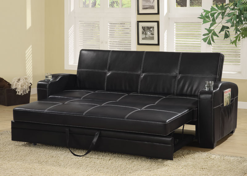 Contemporary Black Vinyl Sofa Bed By Coaster