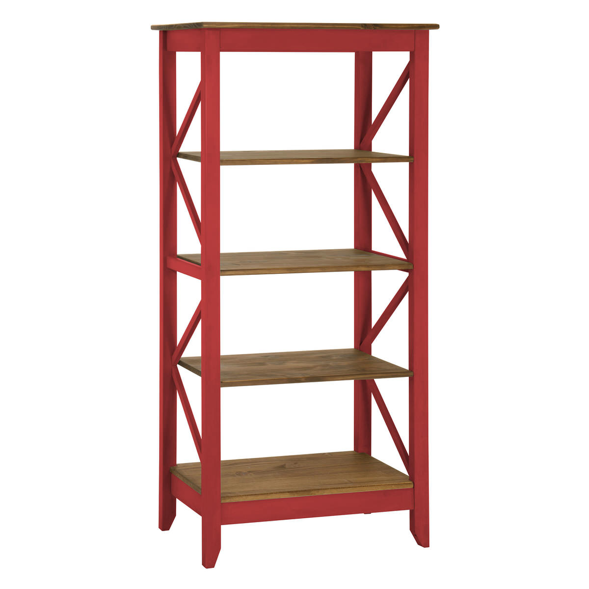 Jay Red Wash 31 5 Inch Solid Wood Bookcase W 4 Shelves By