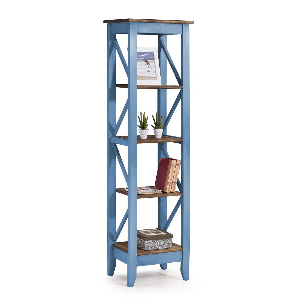 Jay Blue Wash 18 5 Inch Solid Wood Bookcase W 4 Shelves By