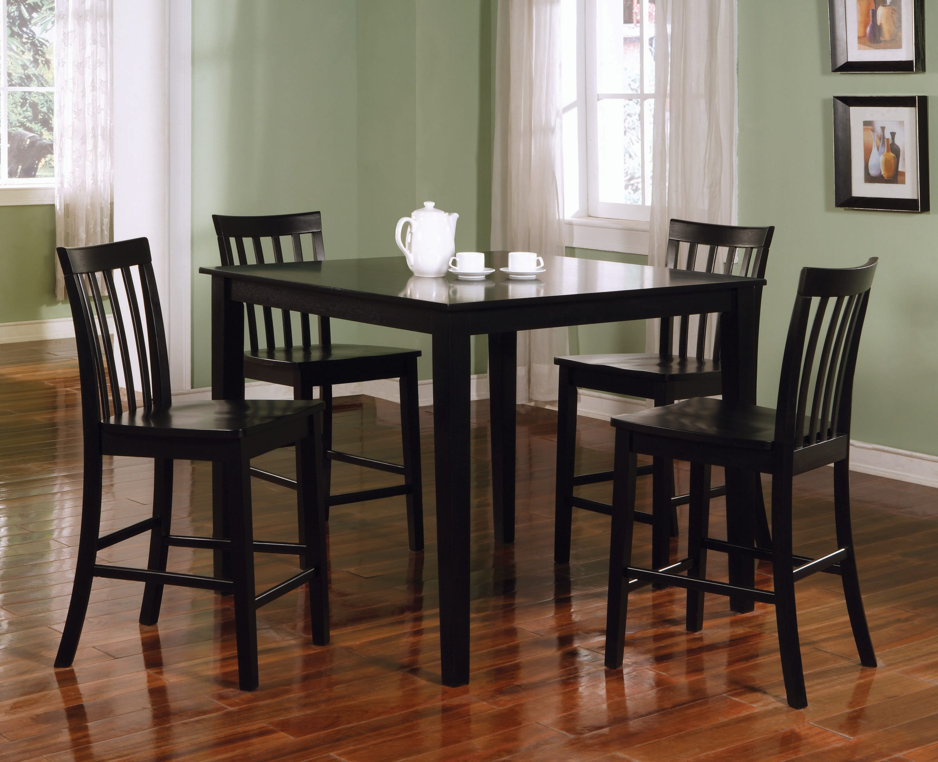 5 Piece Black Counter Height Dining Set By Coaster Fine Furniture