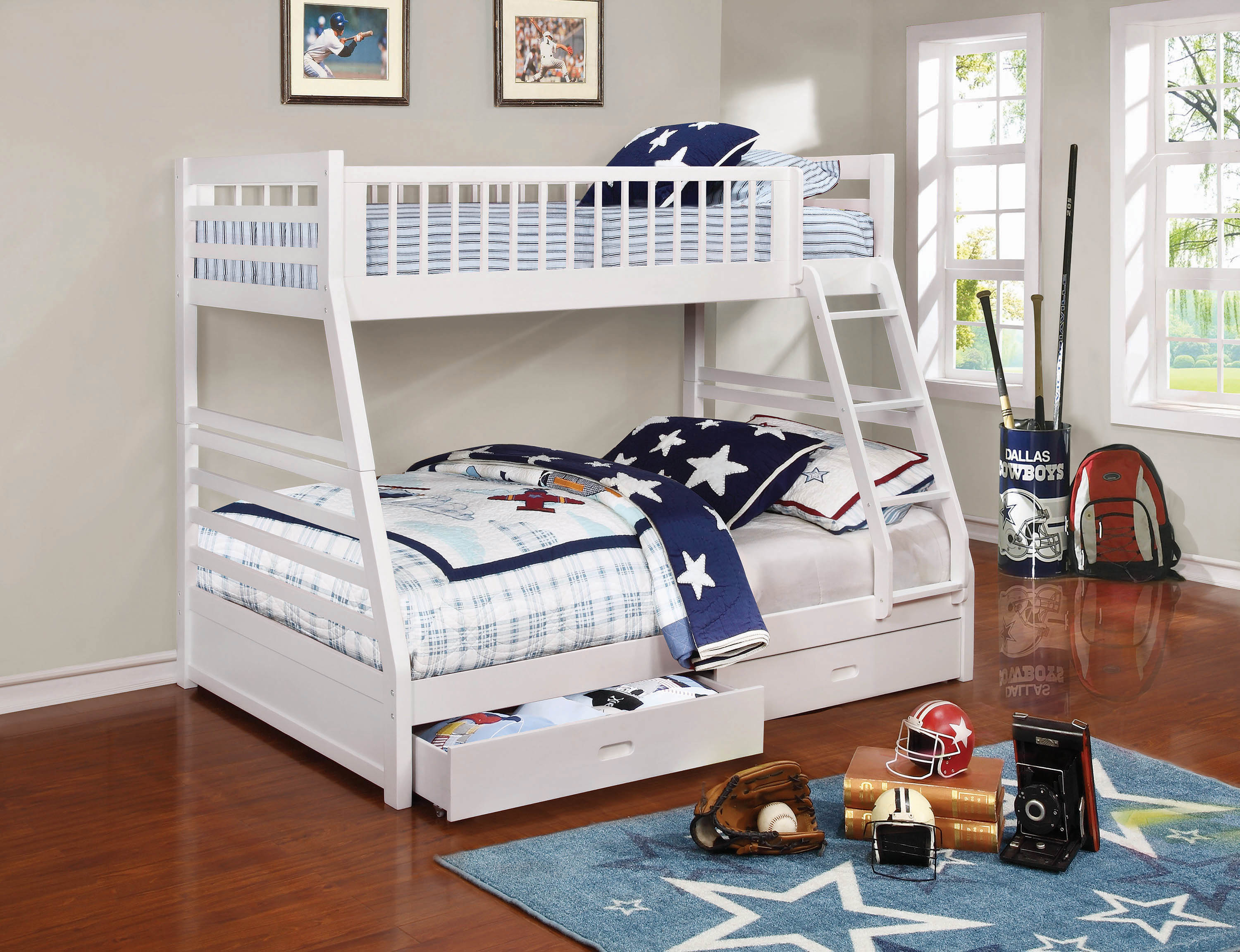 Ashton White Twin Over Full Bunk Bed By Coaster