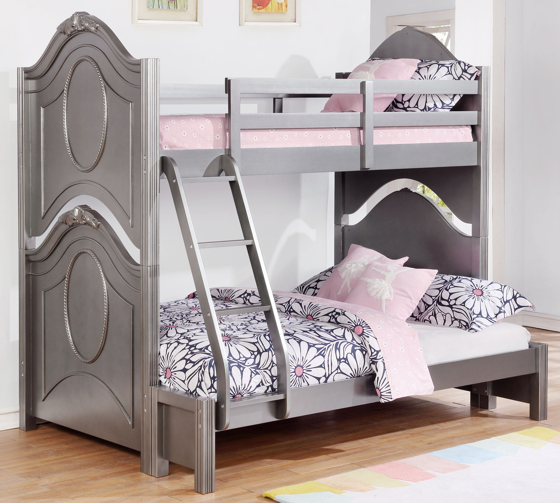 Valentine Metallic Pewter Twin Over Full Bunk Bed By Coaster