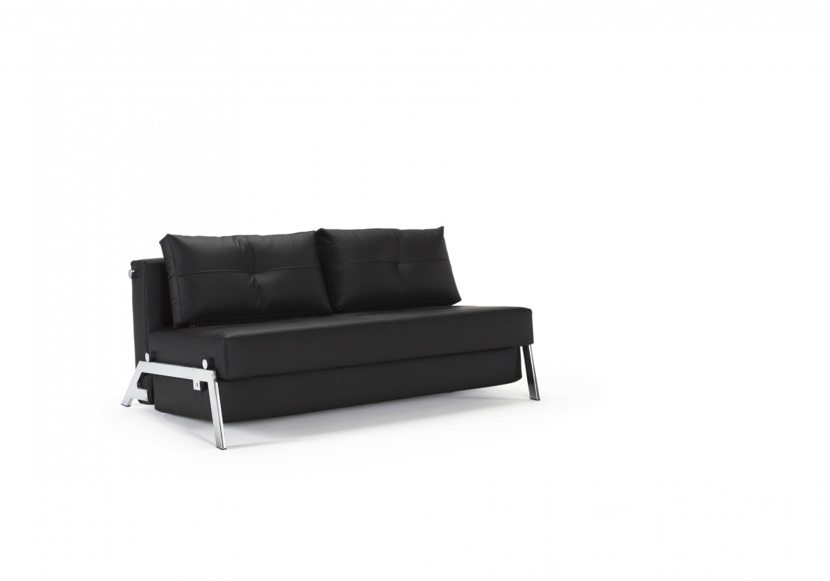 Cubed Deluxe Sofa Bed Queen Size Black Leather Textile By Innovation